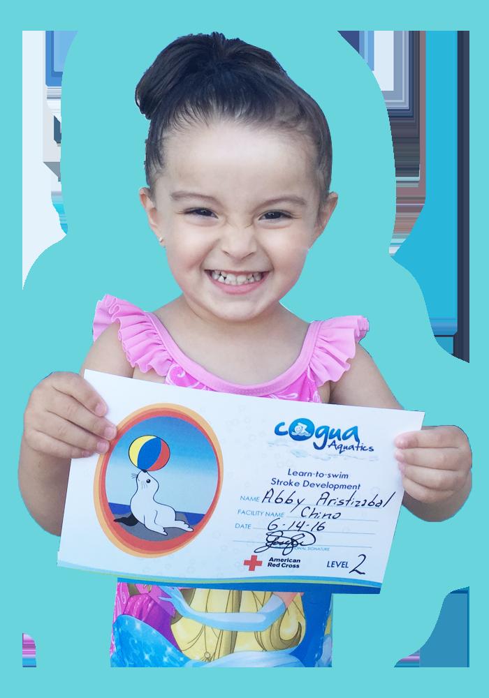 girl holding swimming certificate